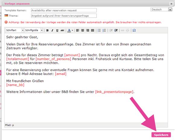e mail vorlagen im reservierungssystem selbst erstellen