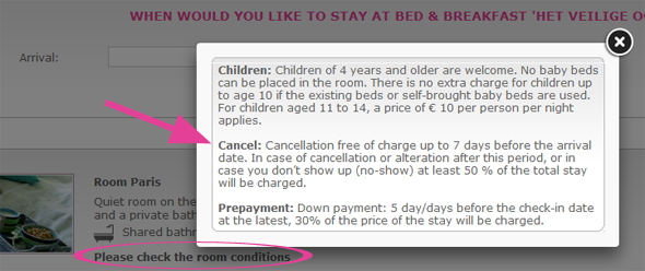 Bed & Breakfast Cancellation conditions
