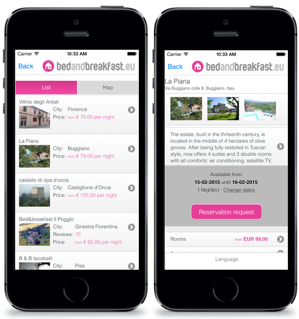Download the Bedandbreakfast.eu mobile app
