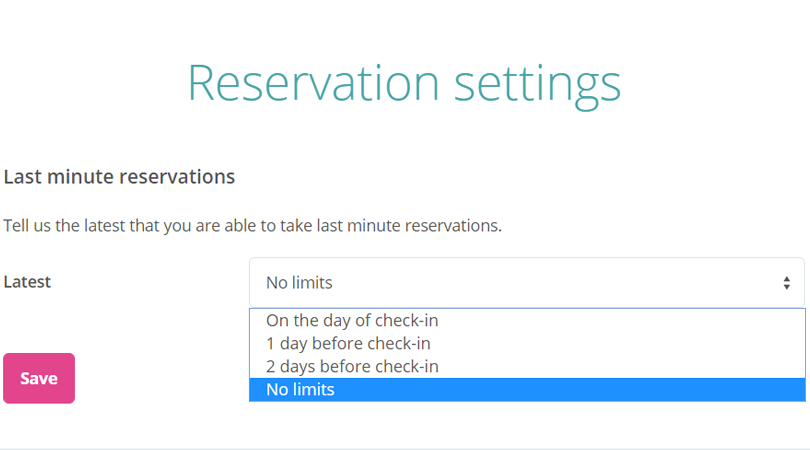 Bedandbreakfast.eu; Reservation settings for avoiding Last Minute bookings