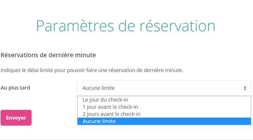 Bedandbreakfast.eu; Paramètres de réservation pour empêcher les réservations de dernière minute