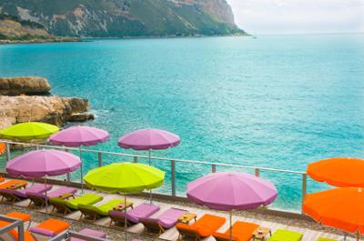 Beach chairs at the Mediterranean coastline