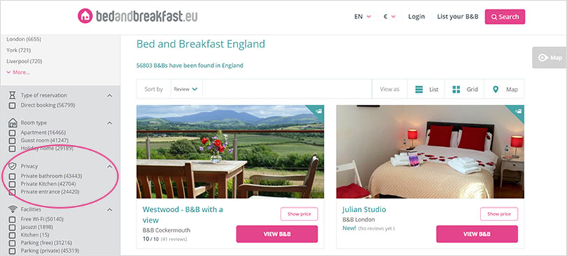 Bedandbreakfast.eu; Extra Private B&Bs for a Contact-free Stay