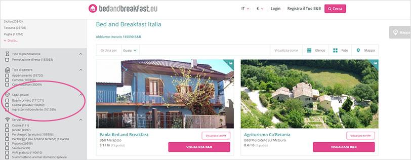 Bedandbreakfast.eu; B&B con spazi privati per soggiorni più sicuri